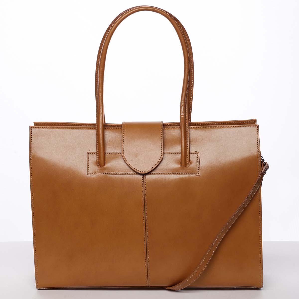 Elegantní a módní dámská kožená kabelka koňaková - ItalY Alison