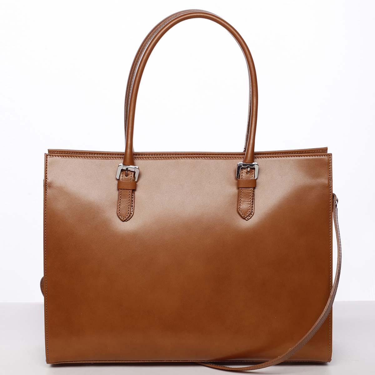 Moderní a elegantní dámská kožená kabelka koňaková - ItalY Madelia
