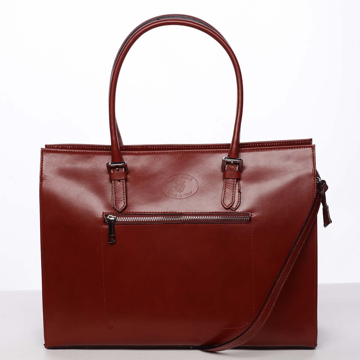 Moderní a elegantní dámská kožená kabelka červená - ItalY Madelia