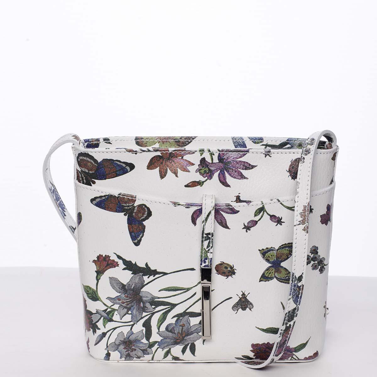 Dámská kožená crossbody kabelka s květy bílá - ItalY Aneta