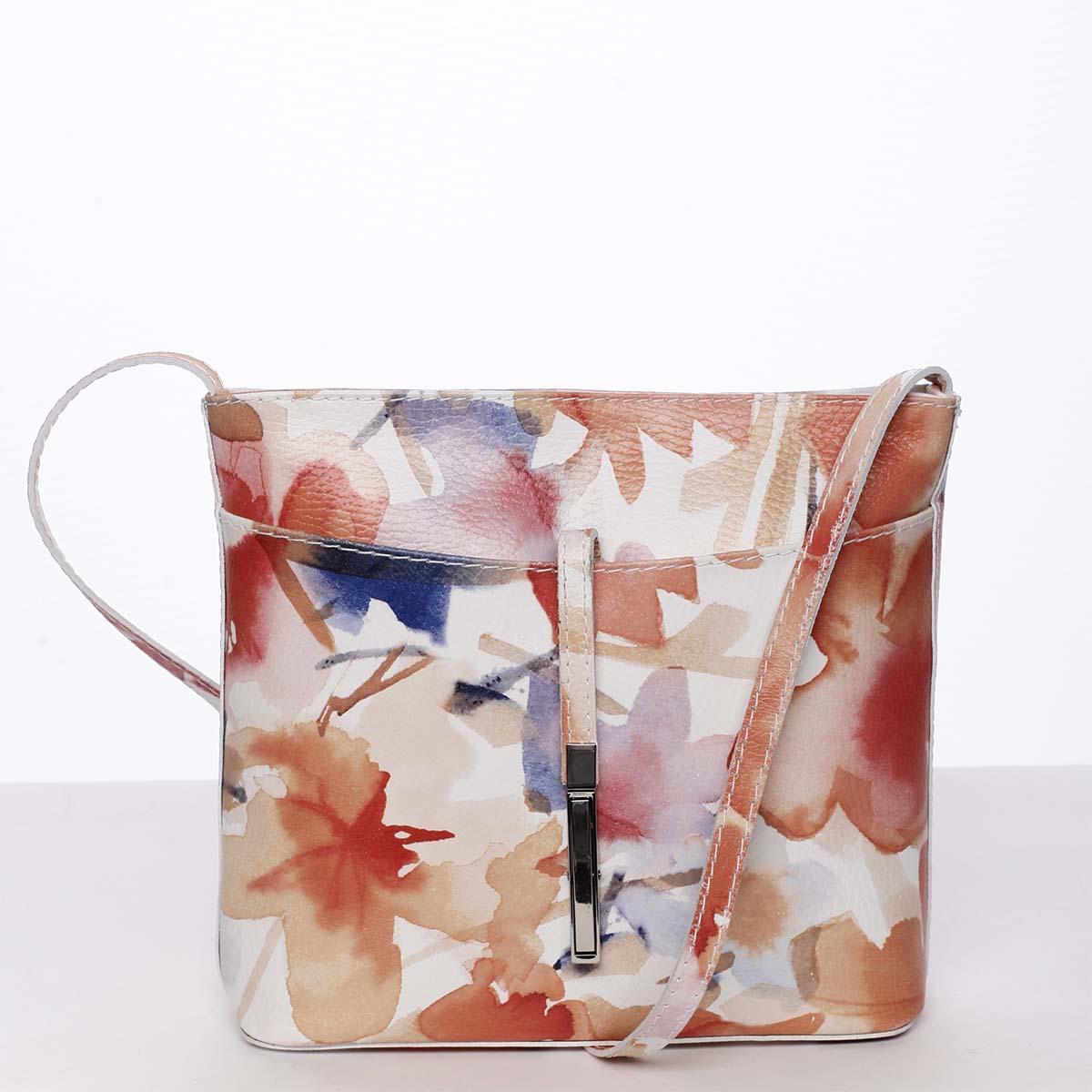 Dámská kožená crossbody kabelka se vzorem barevná - ItalY Aneta