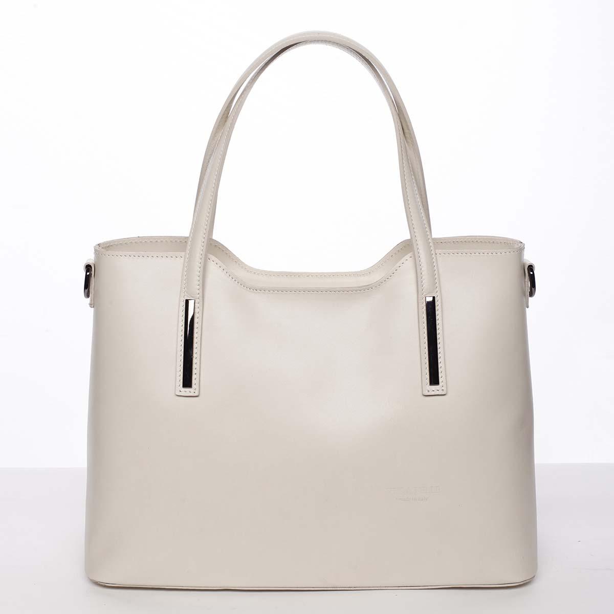 Větší kožená kabelka béžová - ItalY Sandy