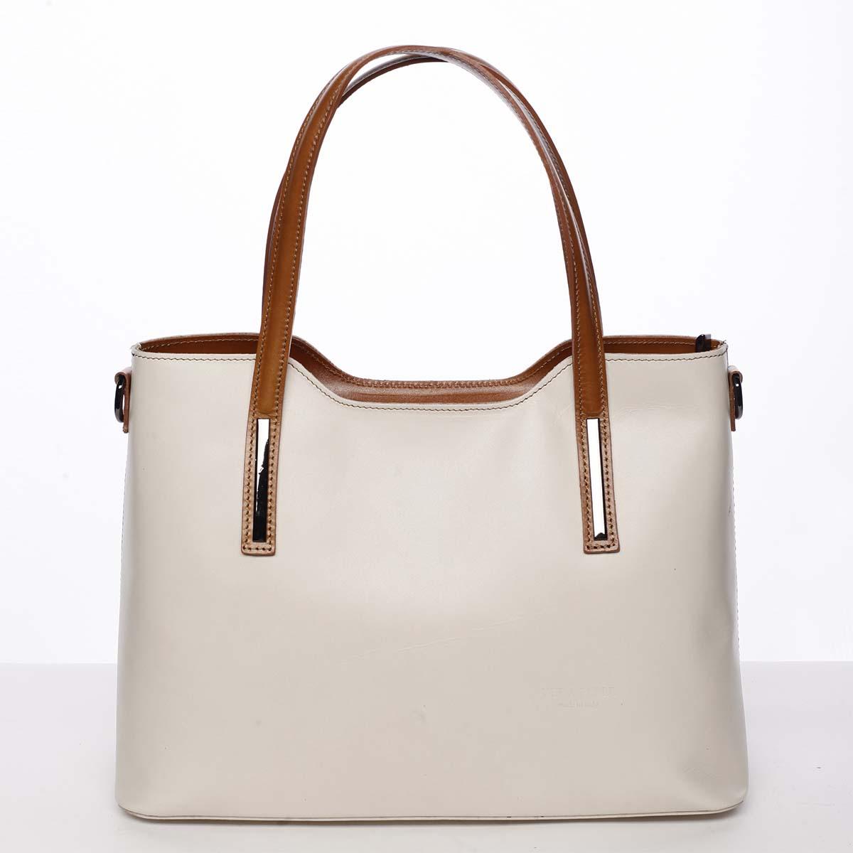 Větší kožená kabelka hnědo béžová - ItalY Sandy