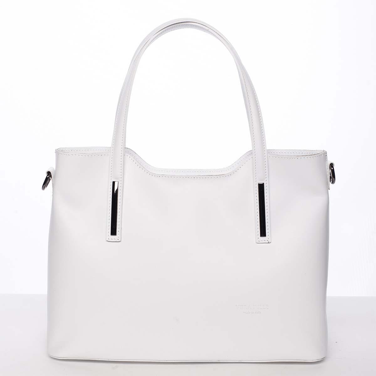 Větší kožená kabelka bílá - ItalY Sandy