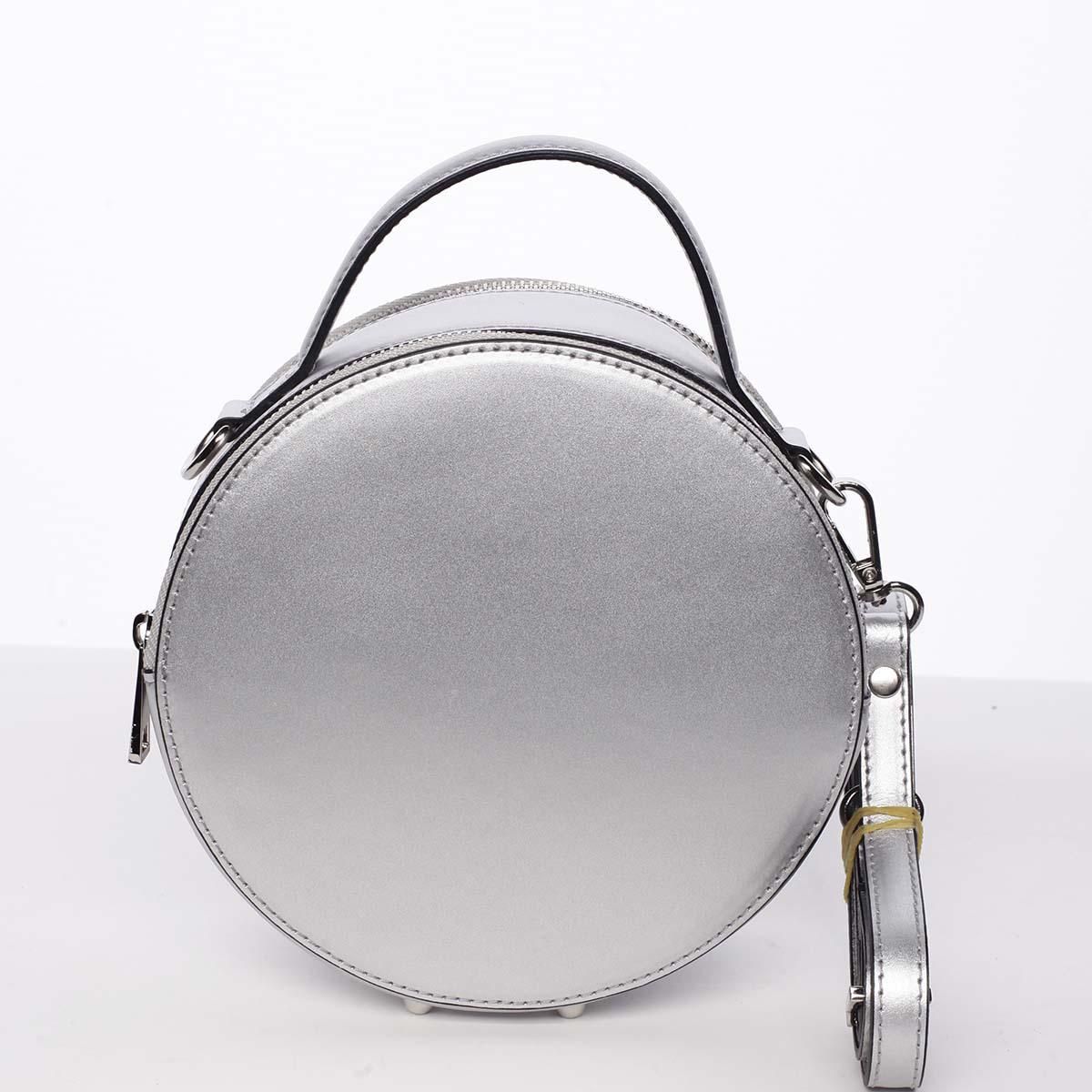 Malá stříbrná elegantní dámská kožená kabelka - ItalY Husna