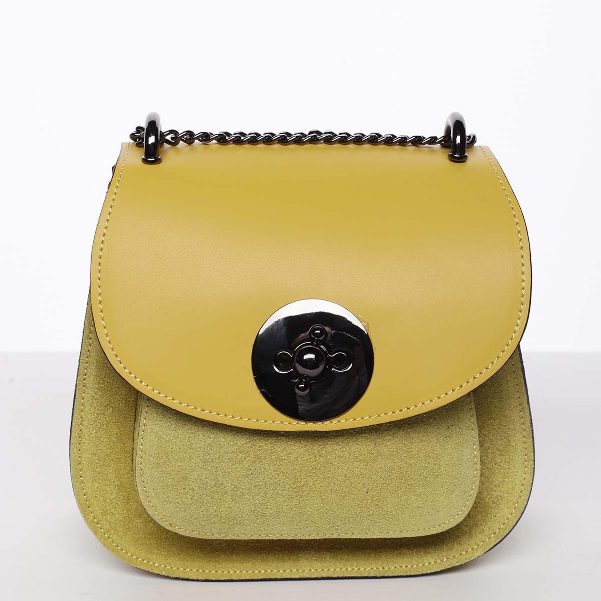 Malá dámská kožená polobroušená kabelka žlutá - ItalY Karishma