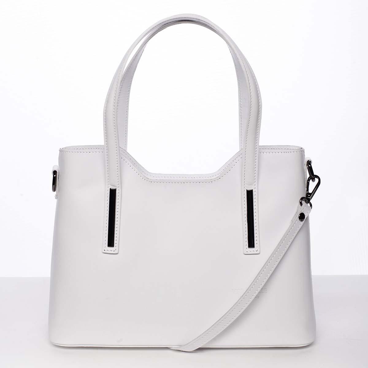 Střední kožená kabelka bílá - ItalY Chevell