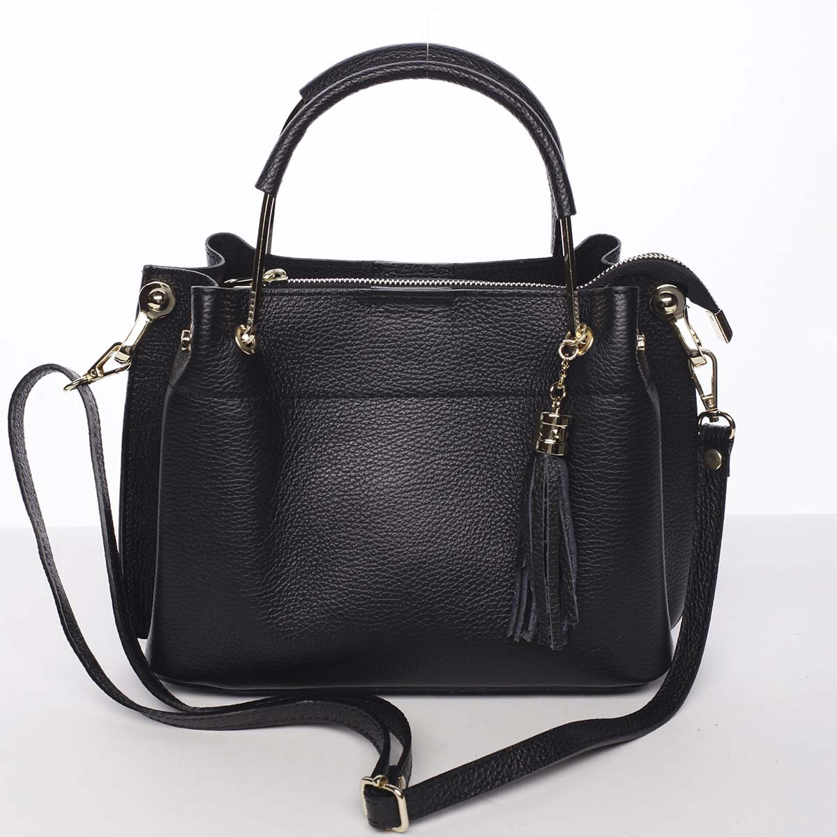 Exkluzivní dámská kožená kabelka černá - ItalY Maarj