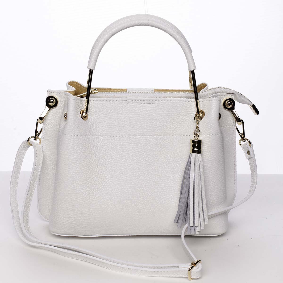 Exkluzivní dámská kožená kabelka bílá - ItalY Maarj