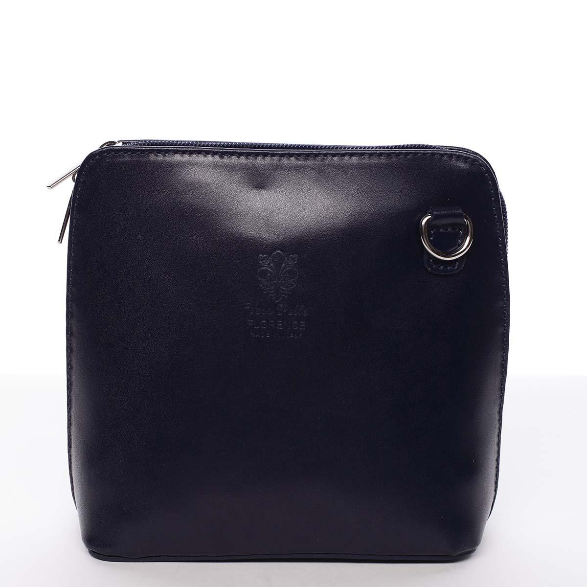 Dámská kožená crossbody kabelka tmavě modrá - ItalY Hannah