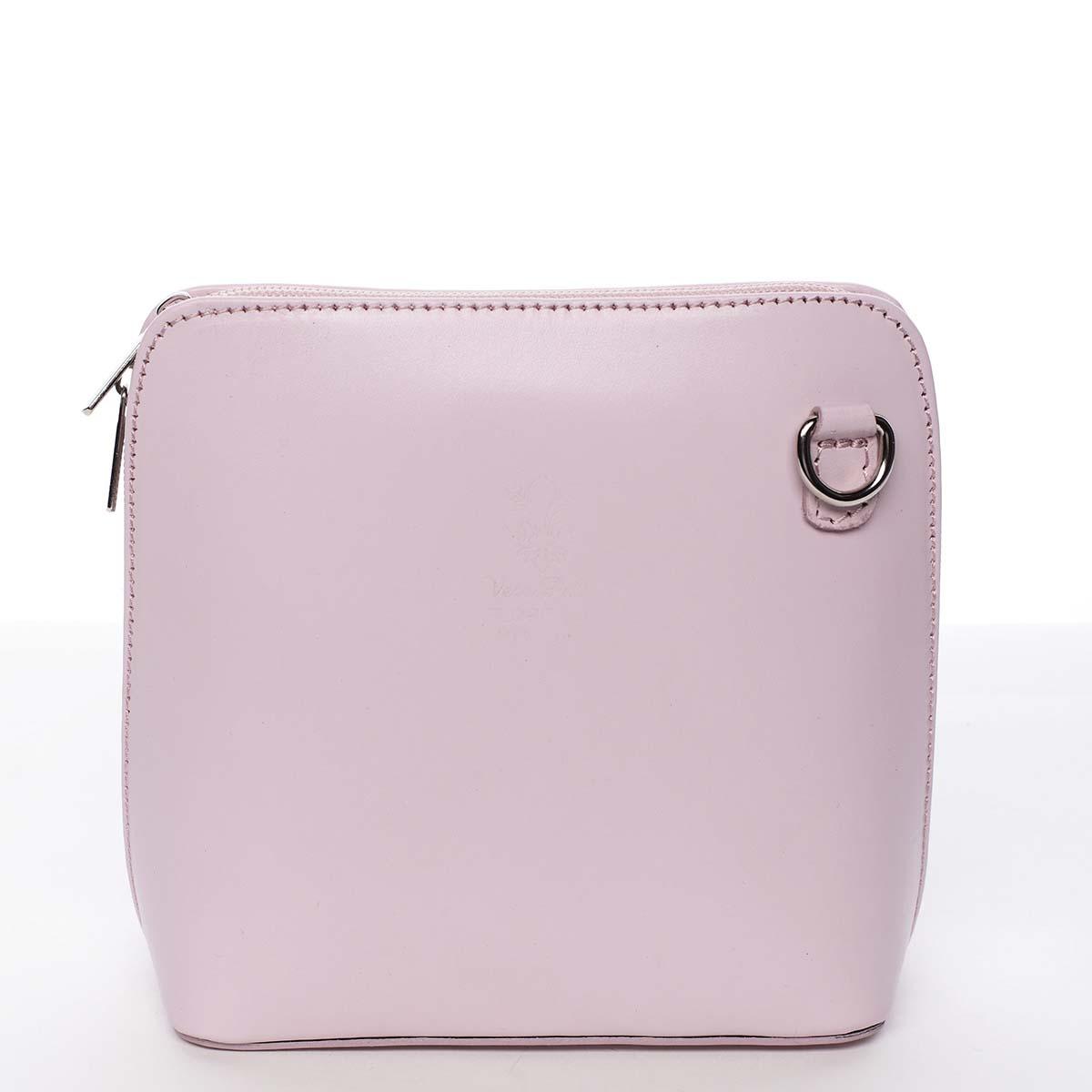 Dámská kožená crossbody kabelka růžová - ItalY Hannah