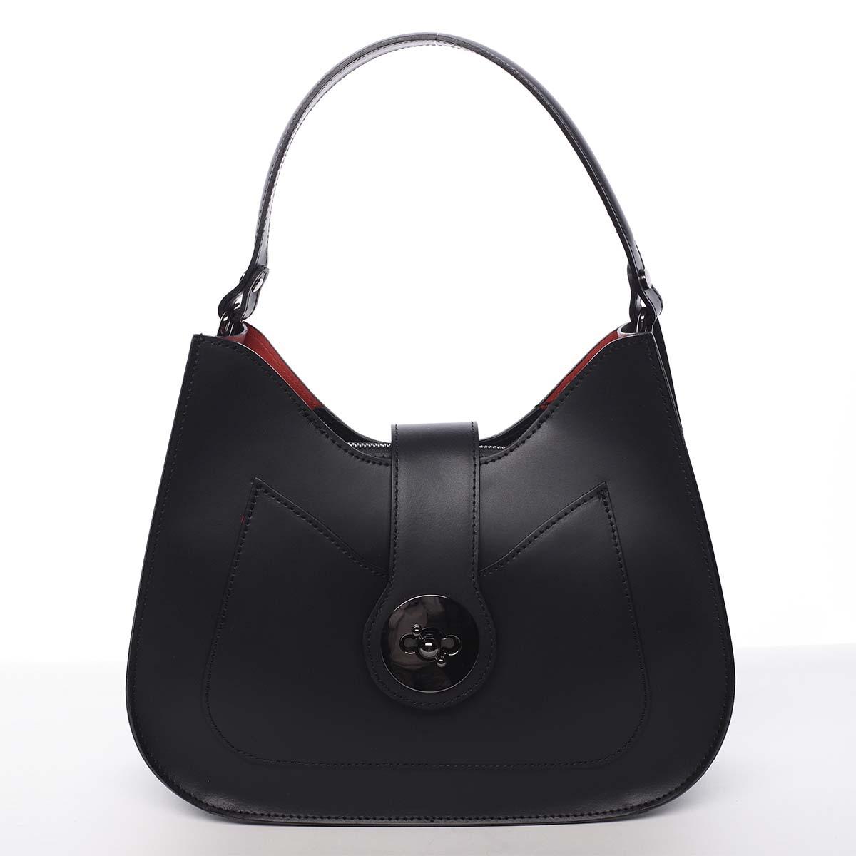 Luxusní dámská kožená kabelka černá - ItalY Fatima