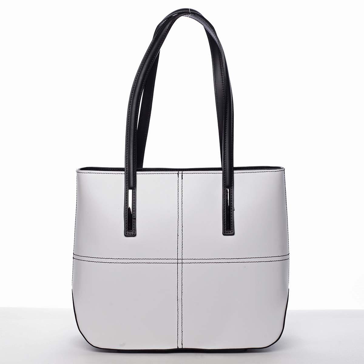 Moderní dámská kožená kabelka bílo černá - ItalY Adalicia