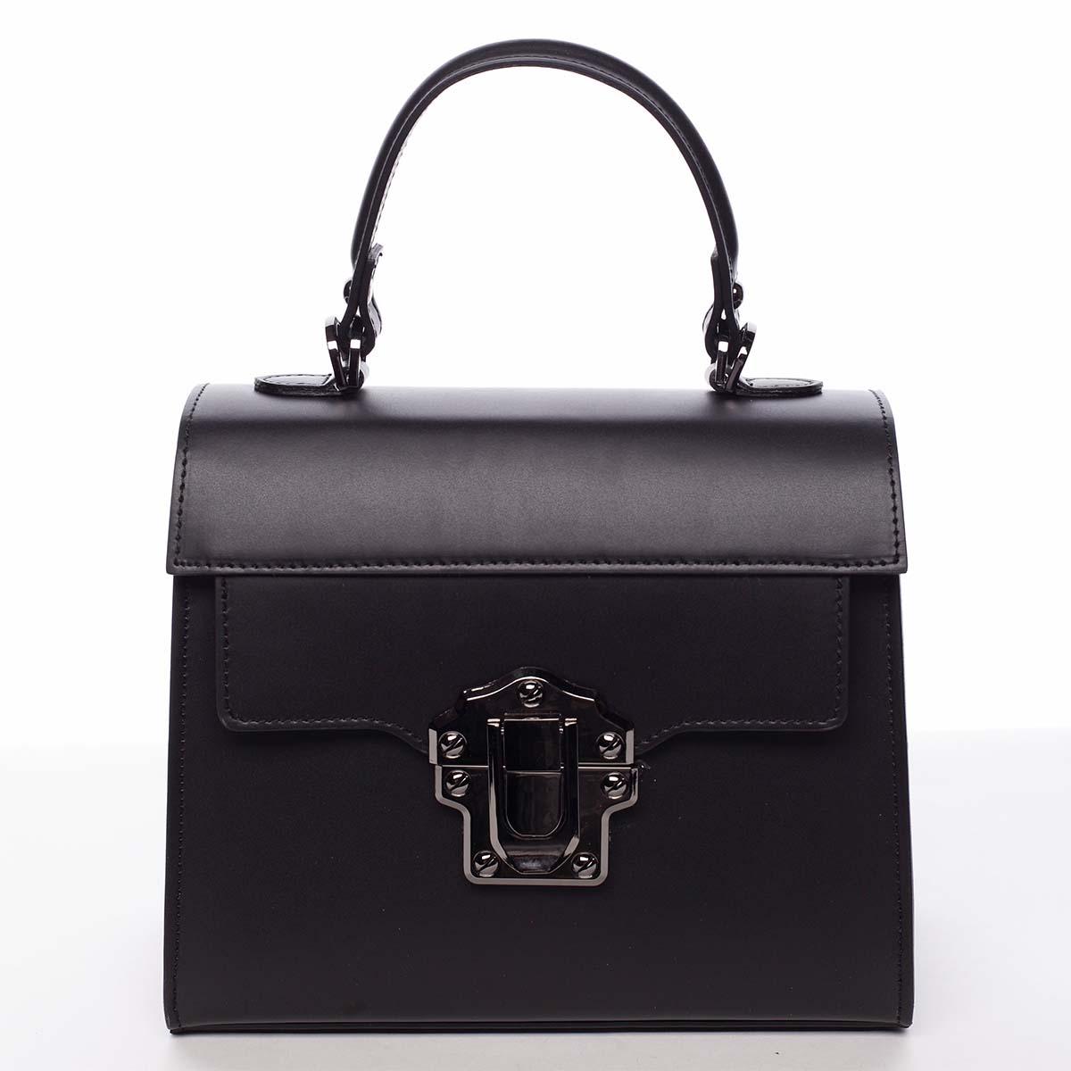 Exkluzivní módní dámská kožená kabelka černá - ItalY Bianka