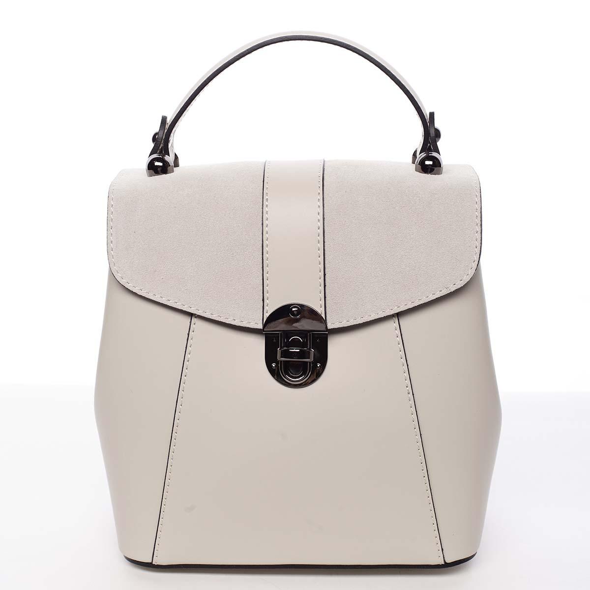 Dámský originální kožený béžový batůžek kabelka - ItalY Acnes