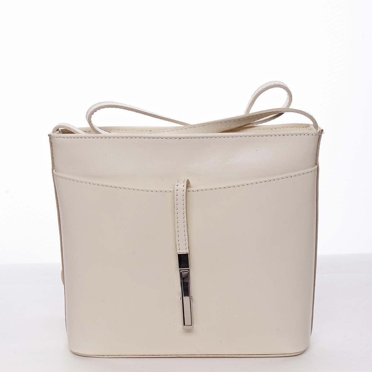 Dámská kožená crossbody kabelka béžová - ItalY Aneta