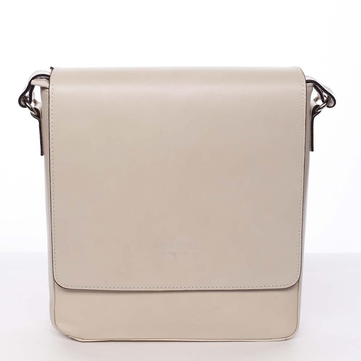 Pánská luxusní kožená taška přes rameno béžová - ItalY Crosby