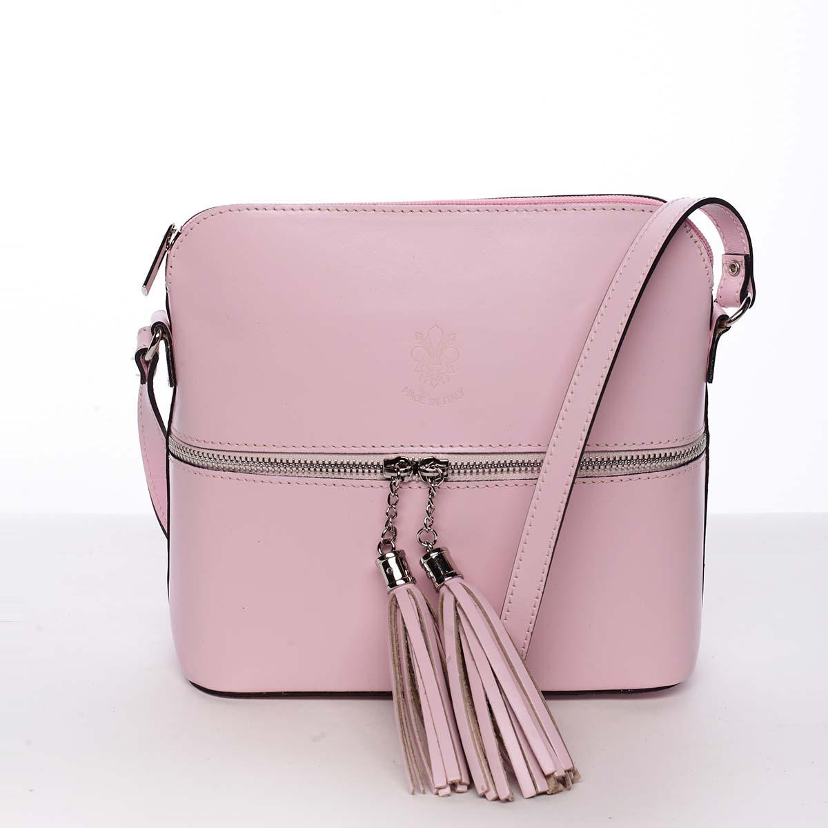 Módní dámská kožená crossbody kabelka růžová - ItalY Farzana