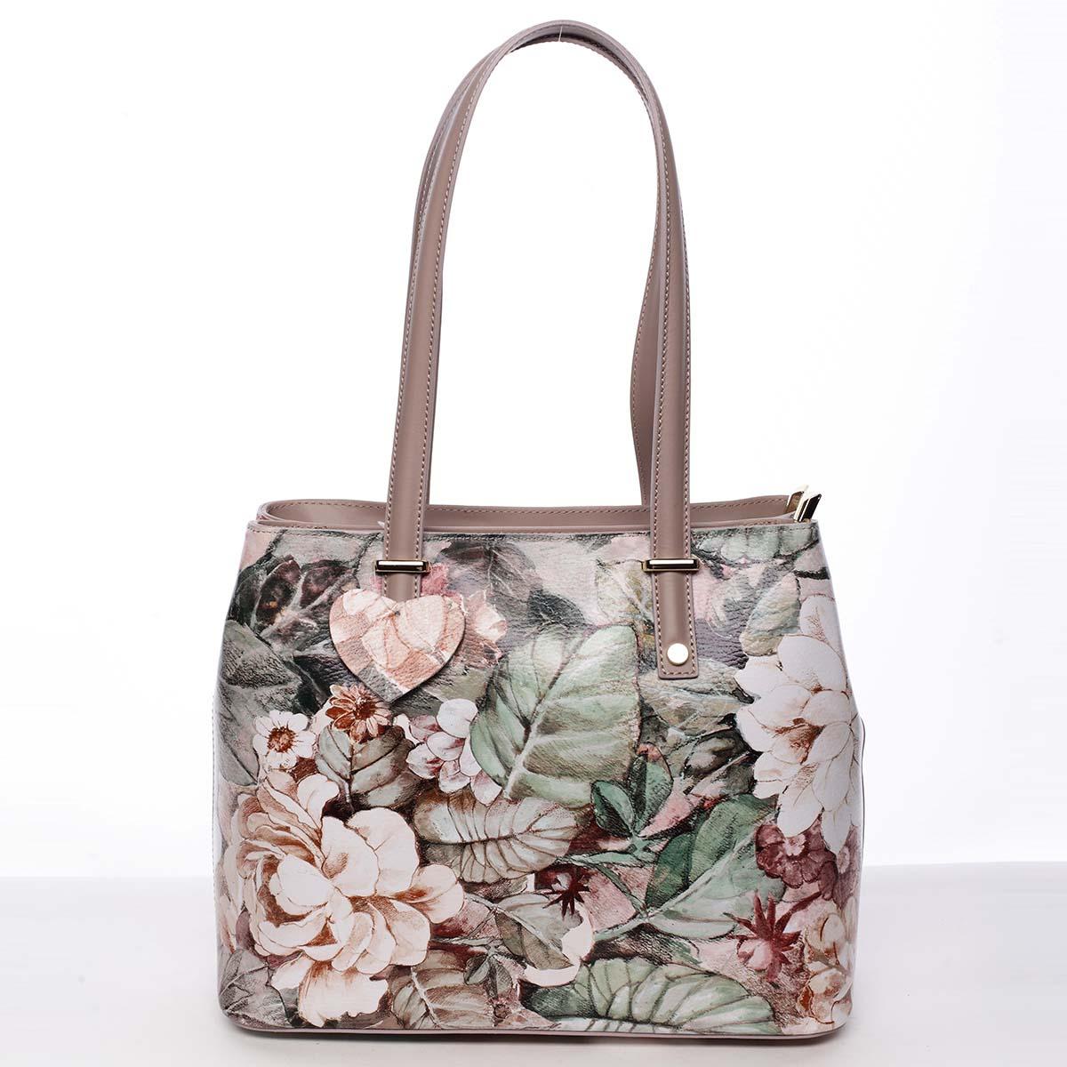 Exkluzivní dámská kožená kabelka pudrová - ItalY Logistilla