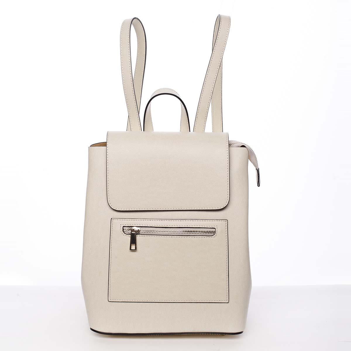 Dámský městský batoh kožený světle béžový - ItalY Bernadea