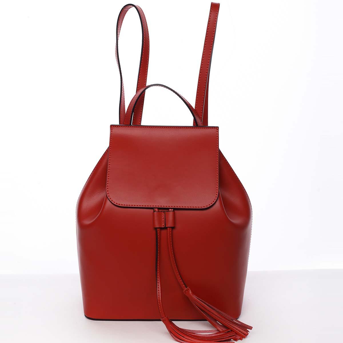 Luxusní dámský batoh červený kožený - ItalY Adelpha