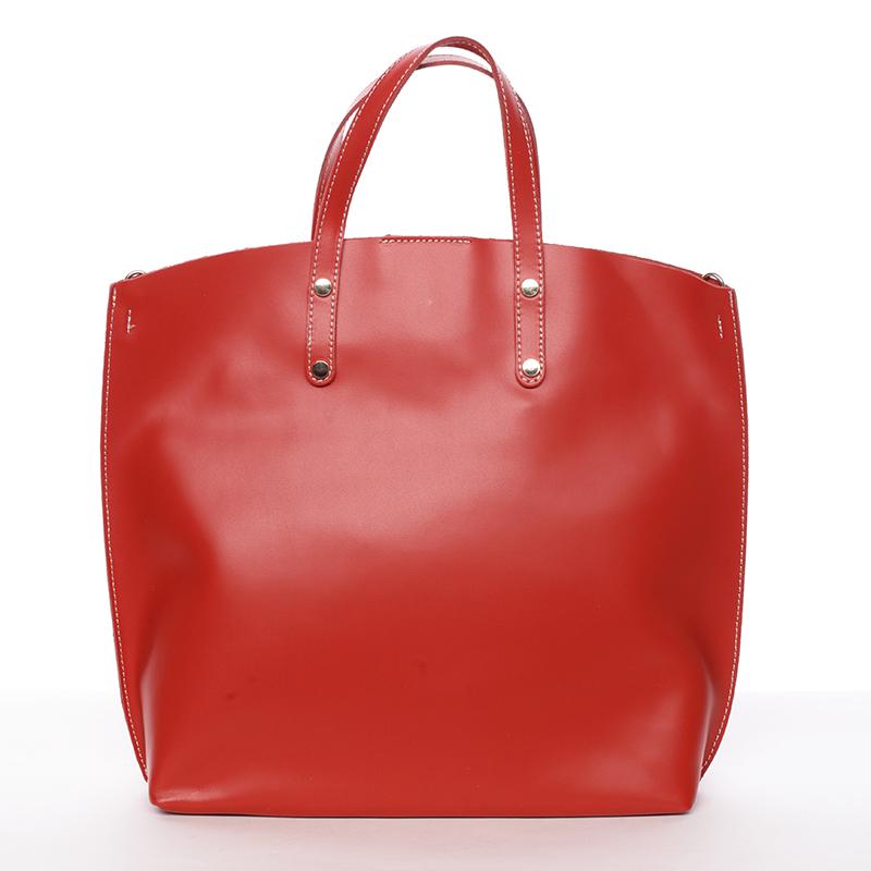 Dámská kožená kabelka do ruky světle červená - ItalY Sydney