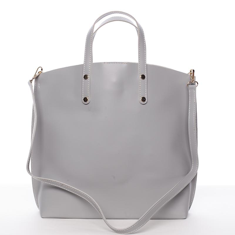 Dámská kožená kabelka do ruky světle šedá - ItalY Sydney