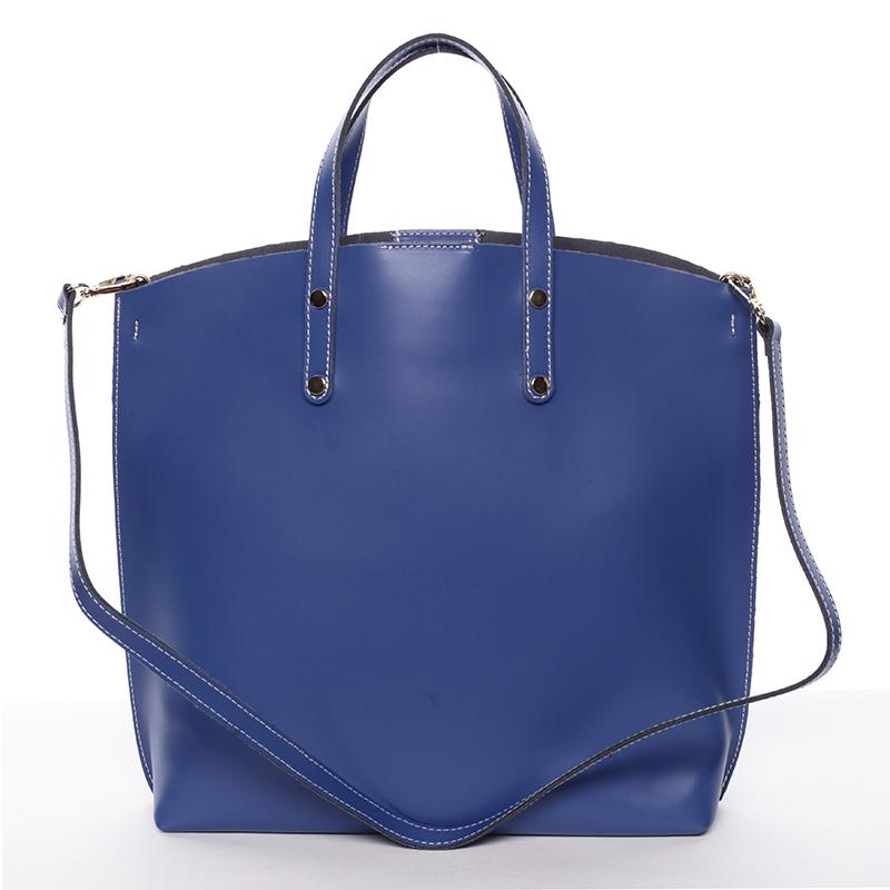 Dámská kožená kabelka do ruky modrá - ItalY Sydney