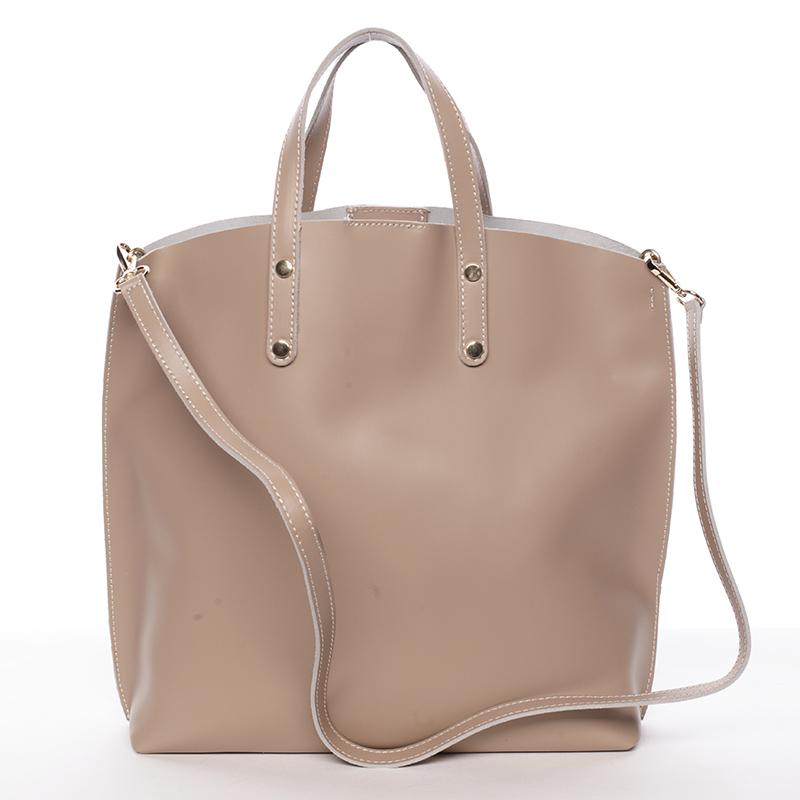Dámská kožená kabelka do ruky taupe - ItalY Sydney