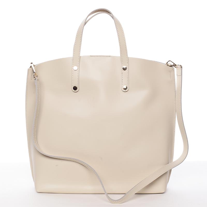 Dámská kožená kabelka do ruky světle béžová - ItalY Sydney