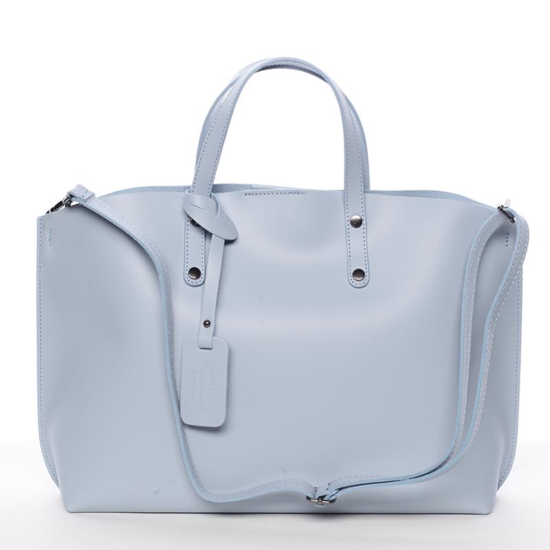 Dámská kožená kabelka světle modrá - ItalY Jordana