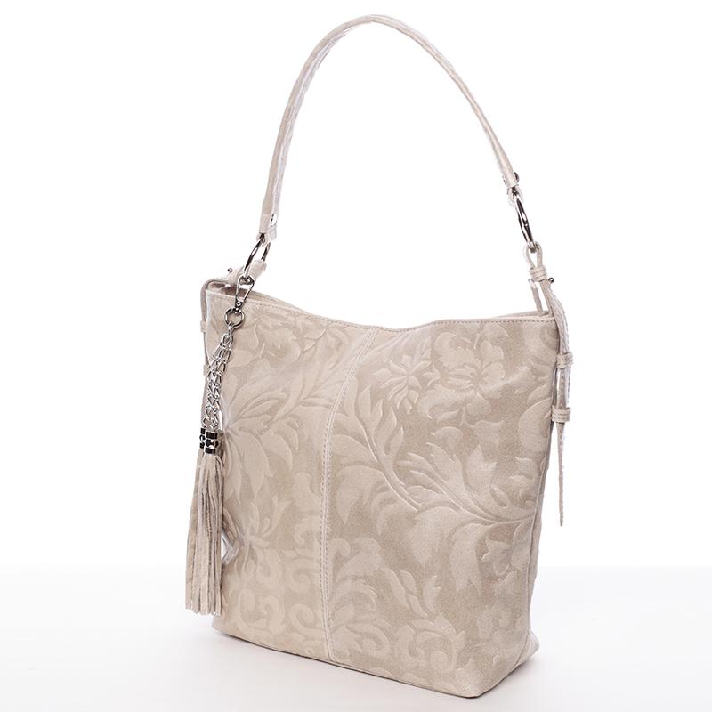Dámská kožená kabelka přes rameno béžová - ItalY Heather