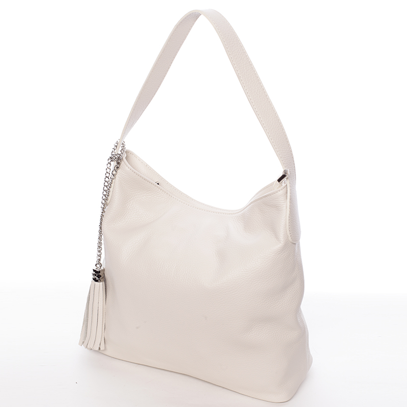 Módní kožená kabelka přes rameno béžová - ItalY Georgine
