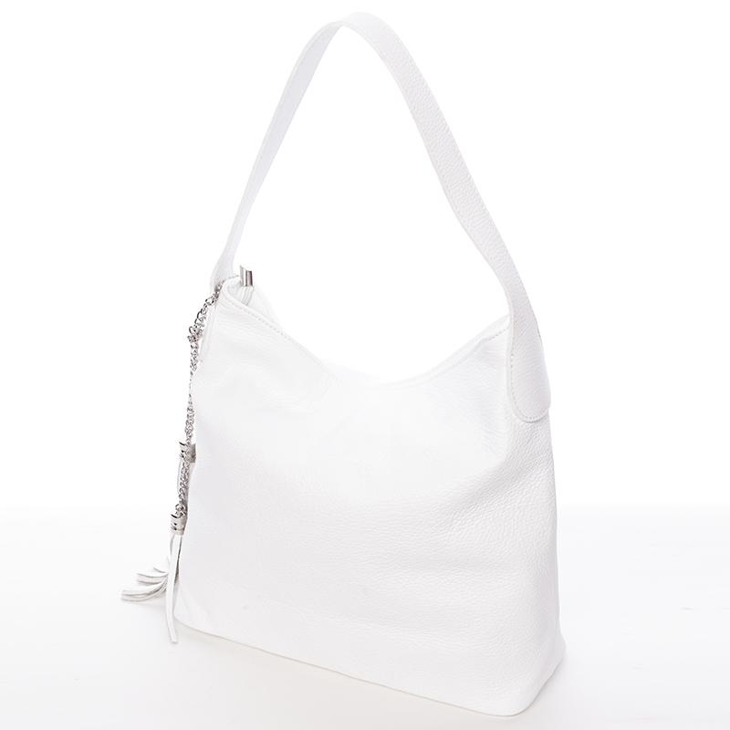 Módní kožená kabelka přes rameno bílá - ItalY Georgine