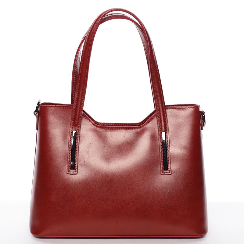 Střední kožená kabelka červená - ItalY Chevell