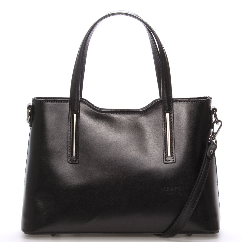 Menší kožená kabelka černá - ItalY Alex