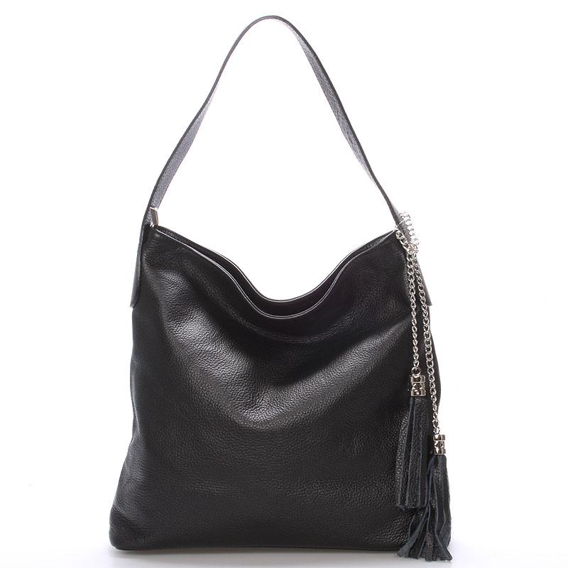 Módní kožená kabelka přes rameno černá - ItalY Georgine