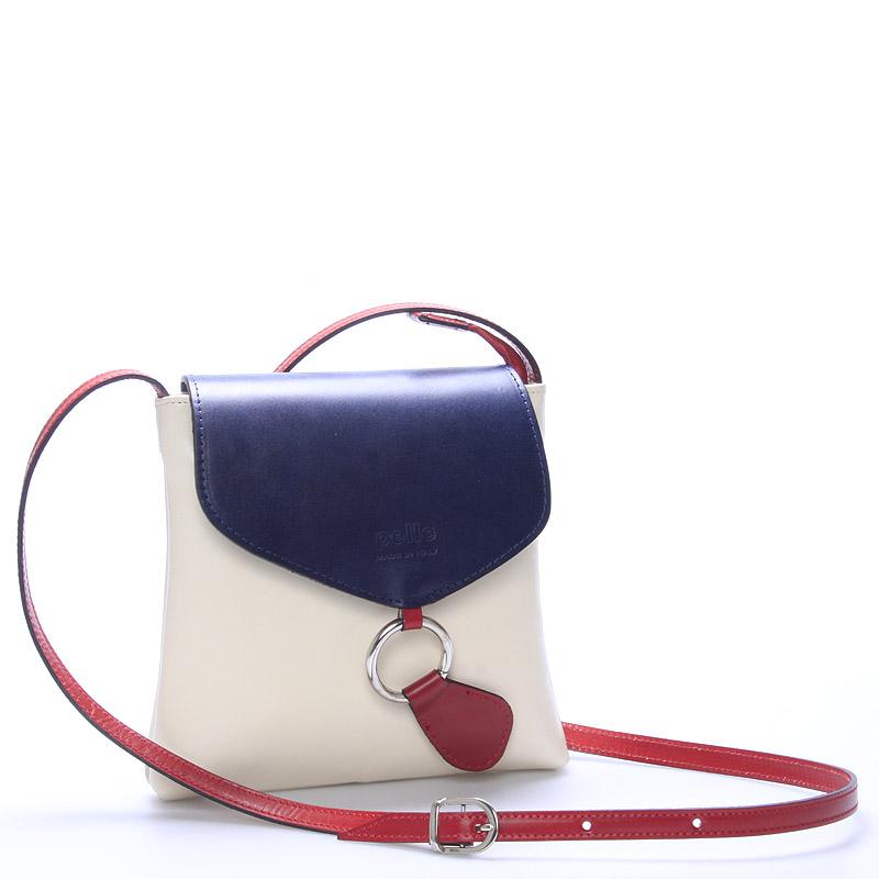 Dámská kožená crossbody kabelka béžovo modro červená - ItalY Saffie