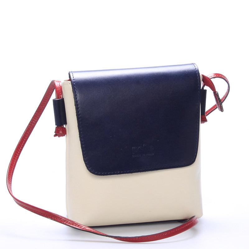 Dámská kožená crossbody kabelka béžovo modrá - ItalY Tamia