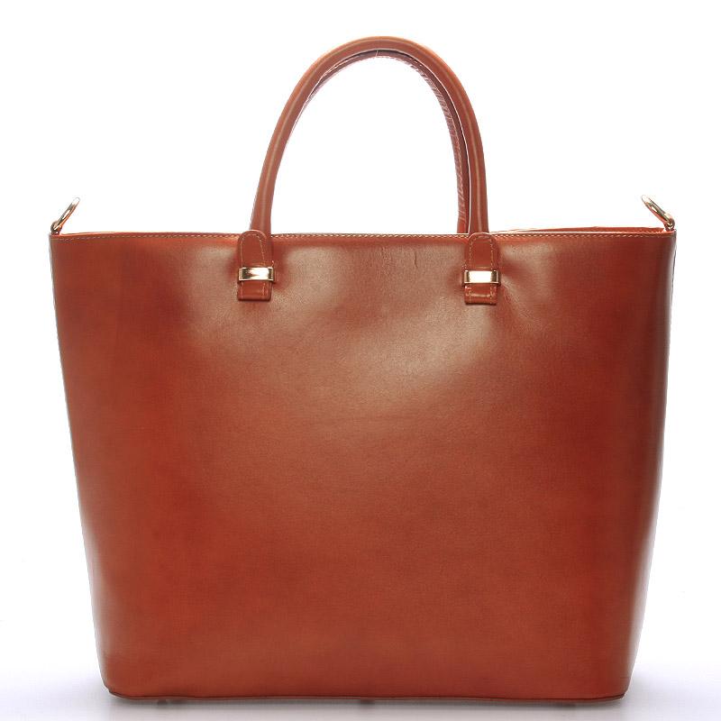 Luxusní dámská kožená kabelka hnědá - ItalY Anabela