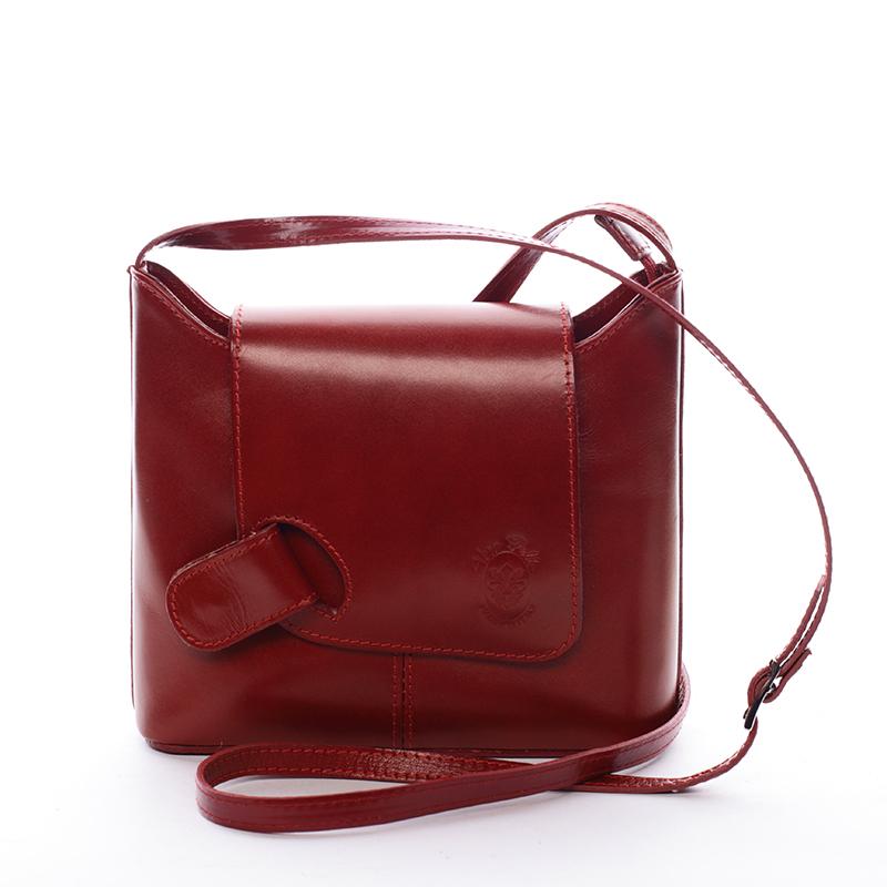 Dámská kožená crossbody kabelka červená - ItalY Misty