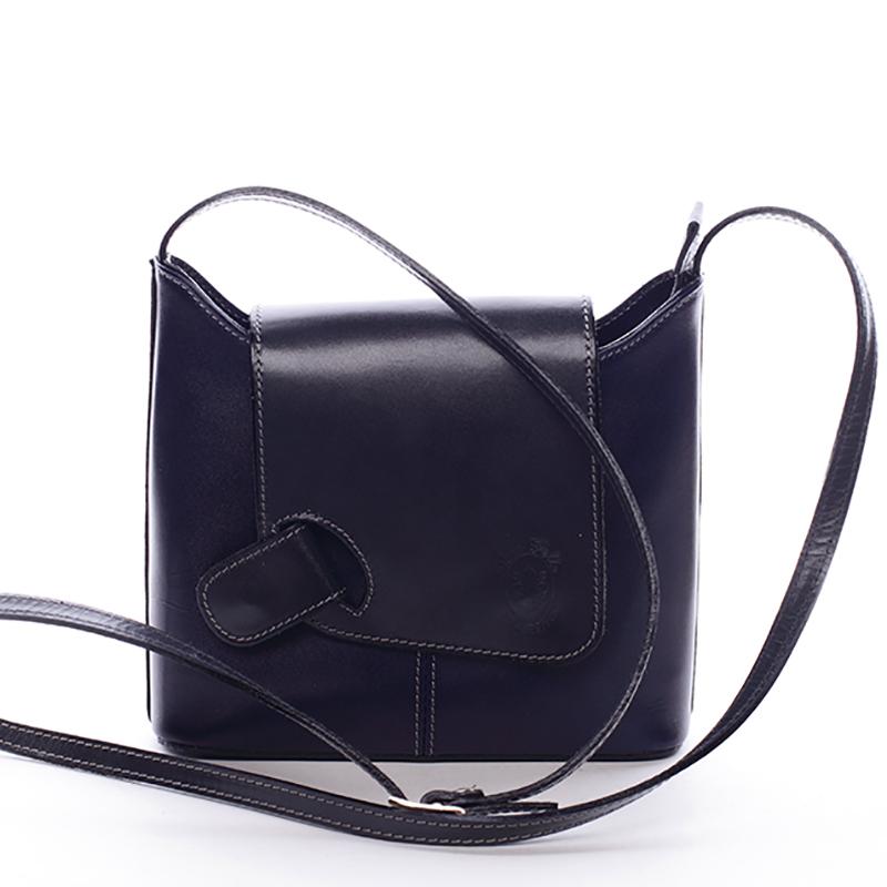 Dámská kožená crossbody kabelka modrá - ItalY Misty