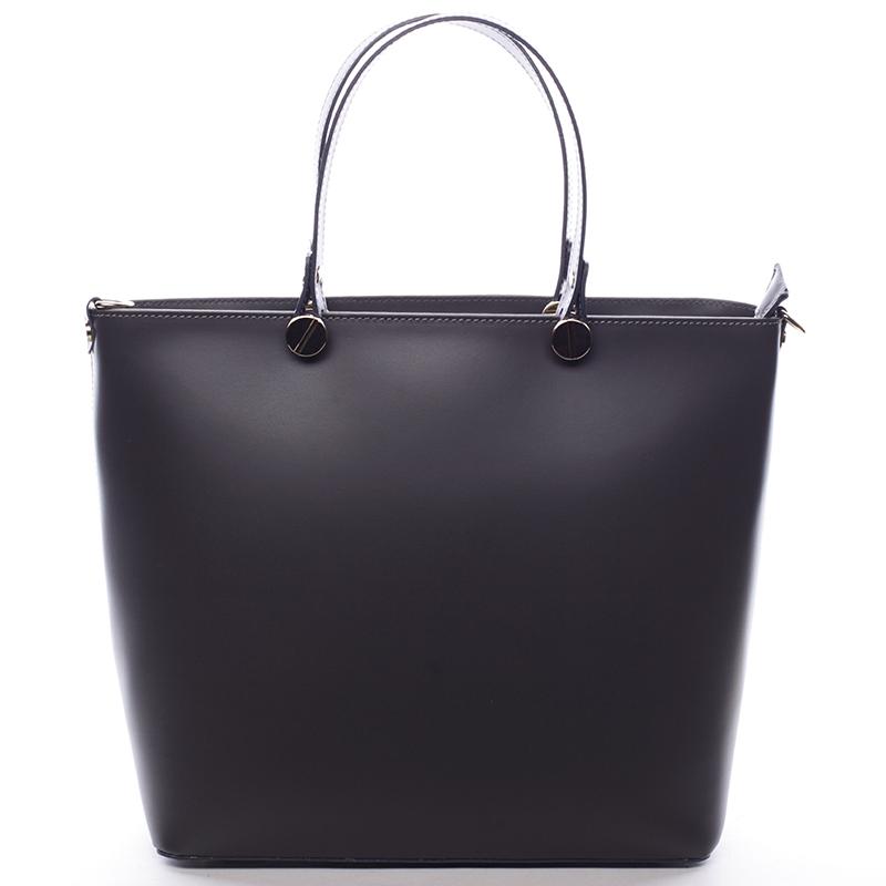 Dámská kožená kabelka tmavě šedá - ItalY Elza