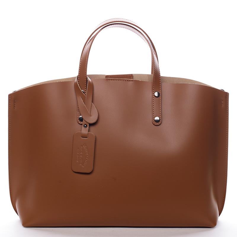 Dámská kožená kabelka camel - ItalY Jordana