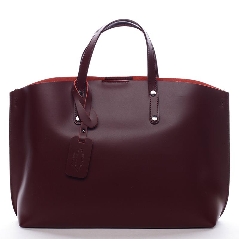 Dámská kožená kabelka vínová - ItalY Jordana