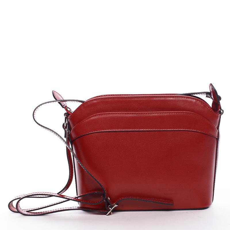 Dámská kožená crossbody kabelka červená - ItalY Heidi