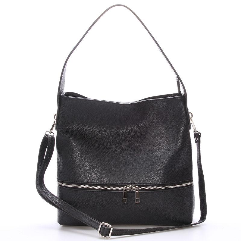 Dámská kožená kabelka přes rameno černá - ItalY Miriam