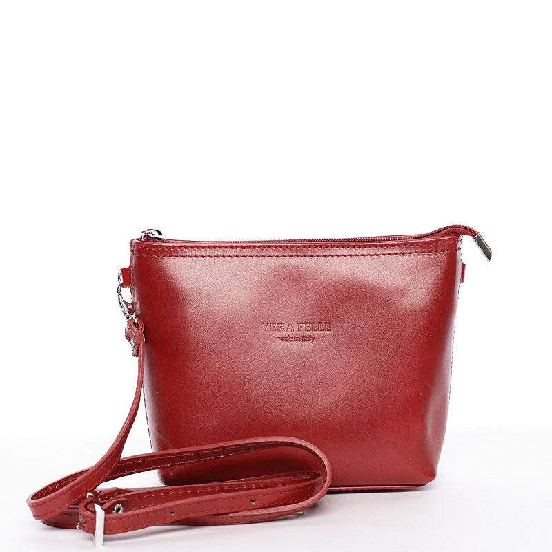 Dámská kožená crossbody kabelka červená - ItalY Garnet