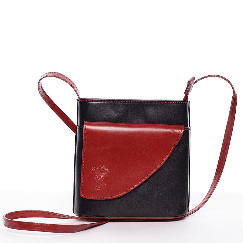 Dámská kožená crossbody kabelka černo-červená - ItalY Cora