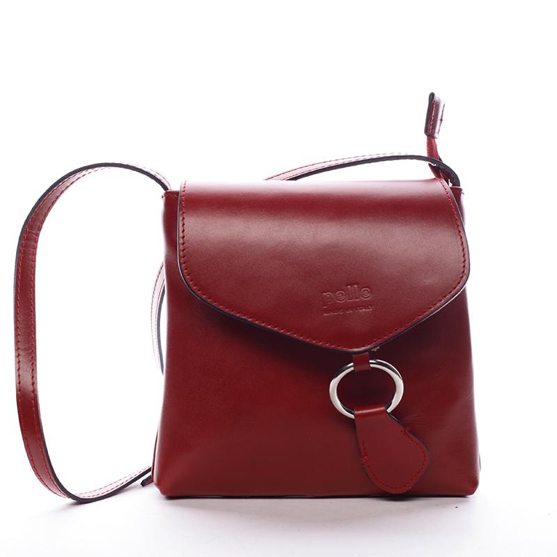 Dámská kožená crossbody kabelka červená - ItalY Saffie